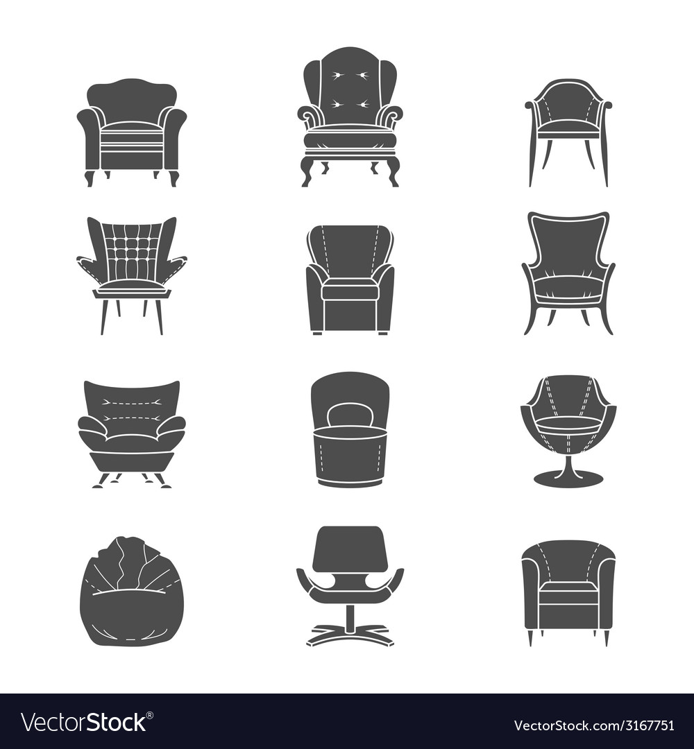 Silhouette armchair isolated icons set vector