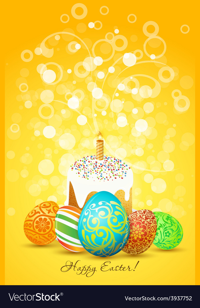 Easter eggs with ornament decoration vector