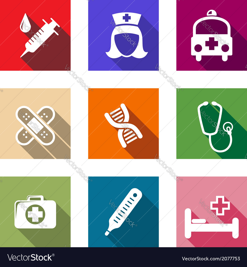 Set of flat healthcare and medical icons vector