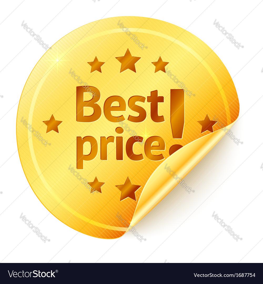 Best price isolated golden sticker vector