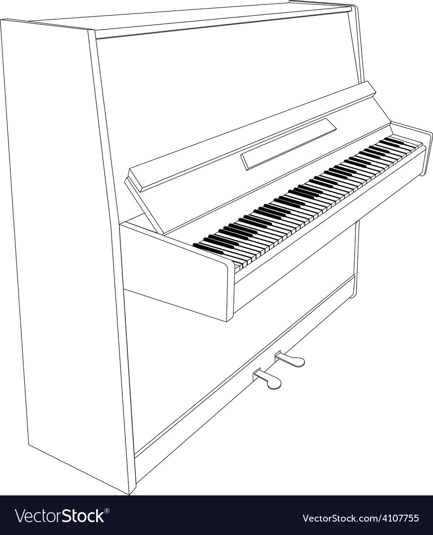 Open piano contour with keyboard vector