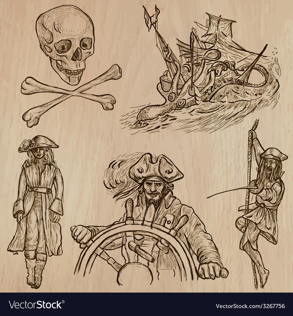 Pirates - an hand drawn pack no10 vector