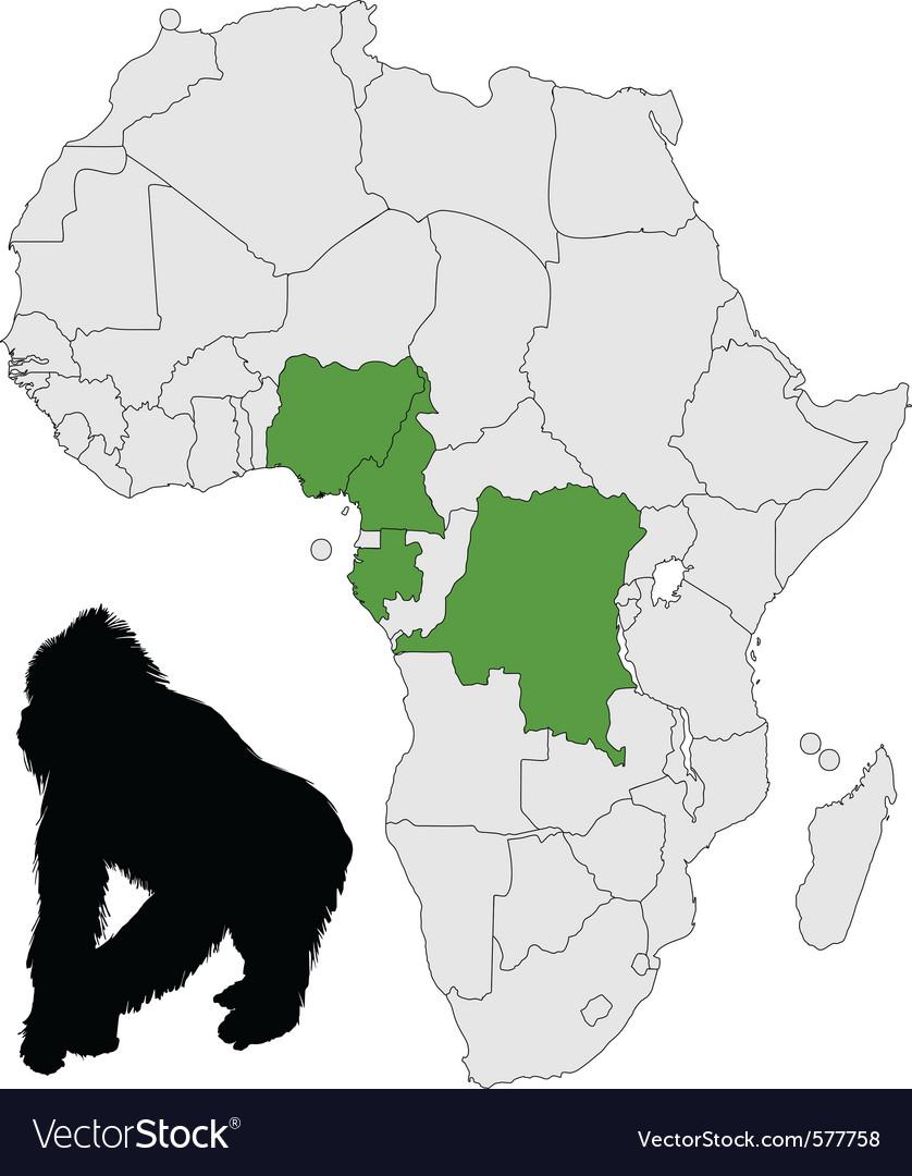 Africa gorilla range vector