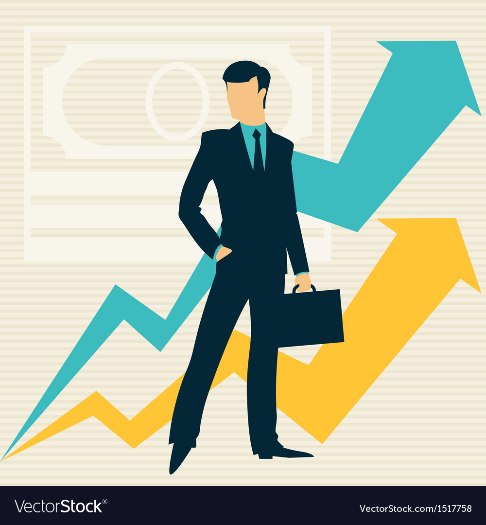 Businessman and growing statistics vector