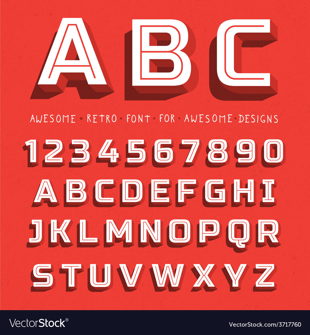 Retro 3d font with shadow vector