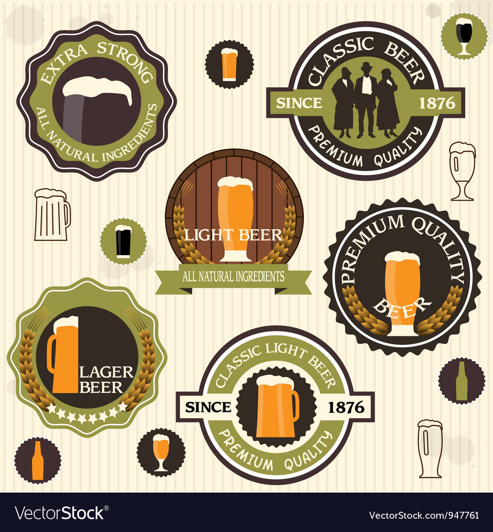 Collection of beer badges and labels in vintage vector