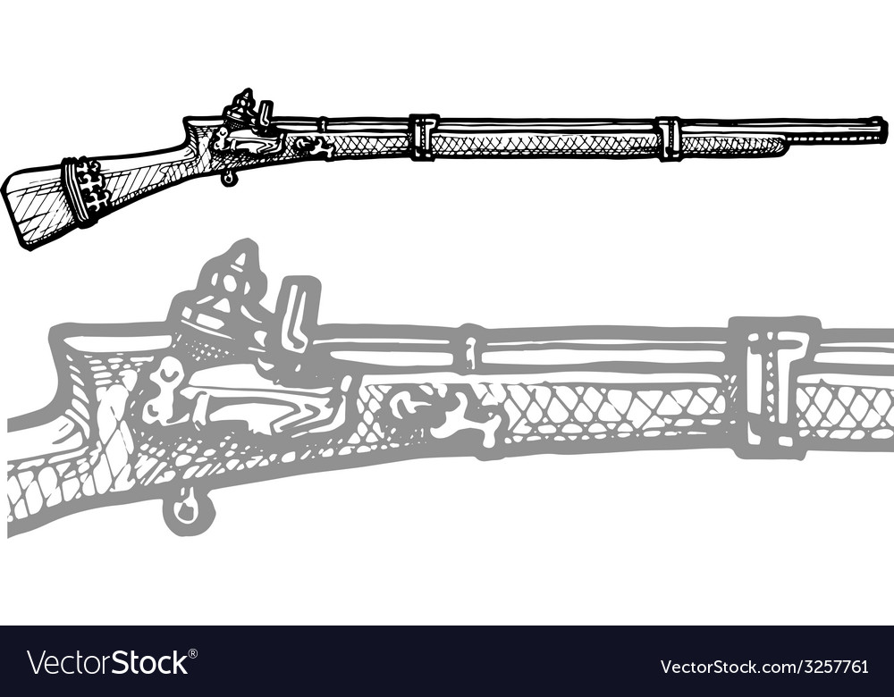 Old musket vector