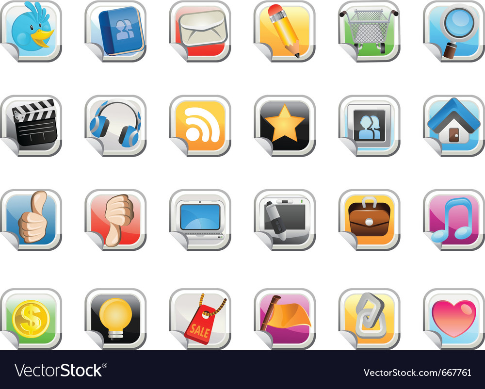 Social media sticker icon vector