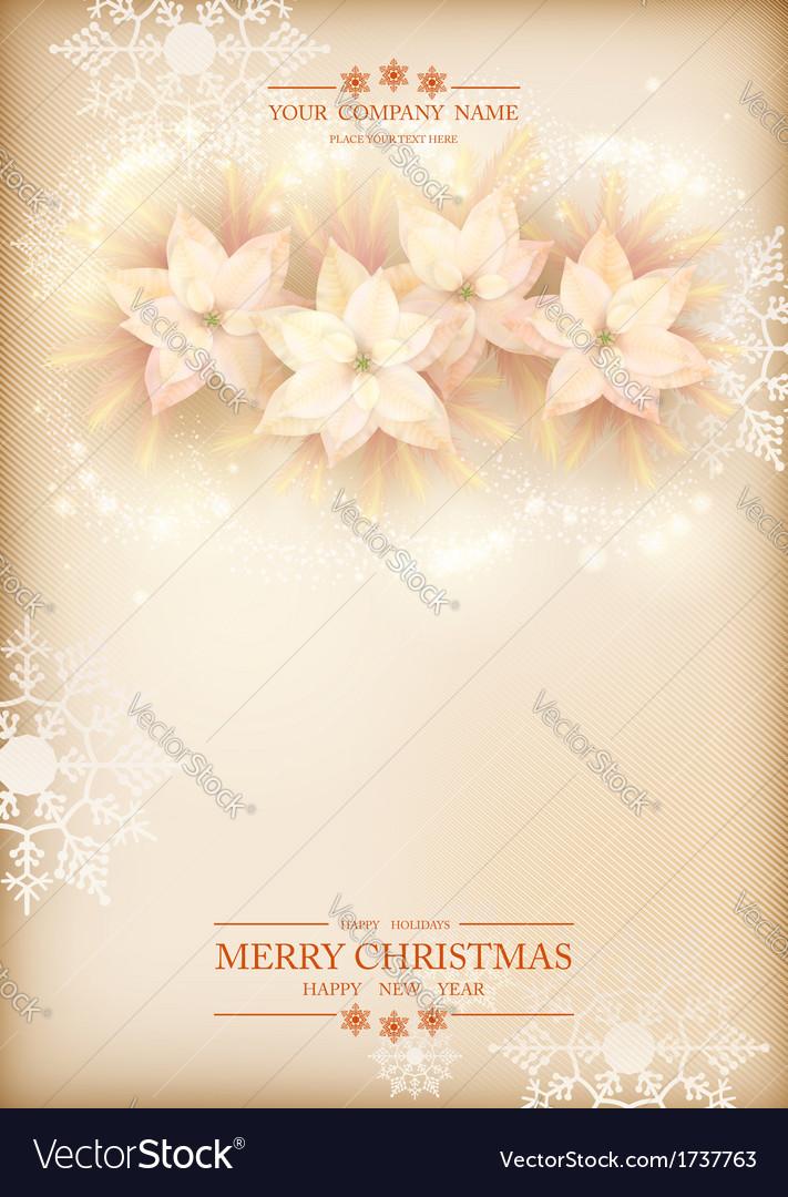 Christmas poinsettias celebration background vector