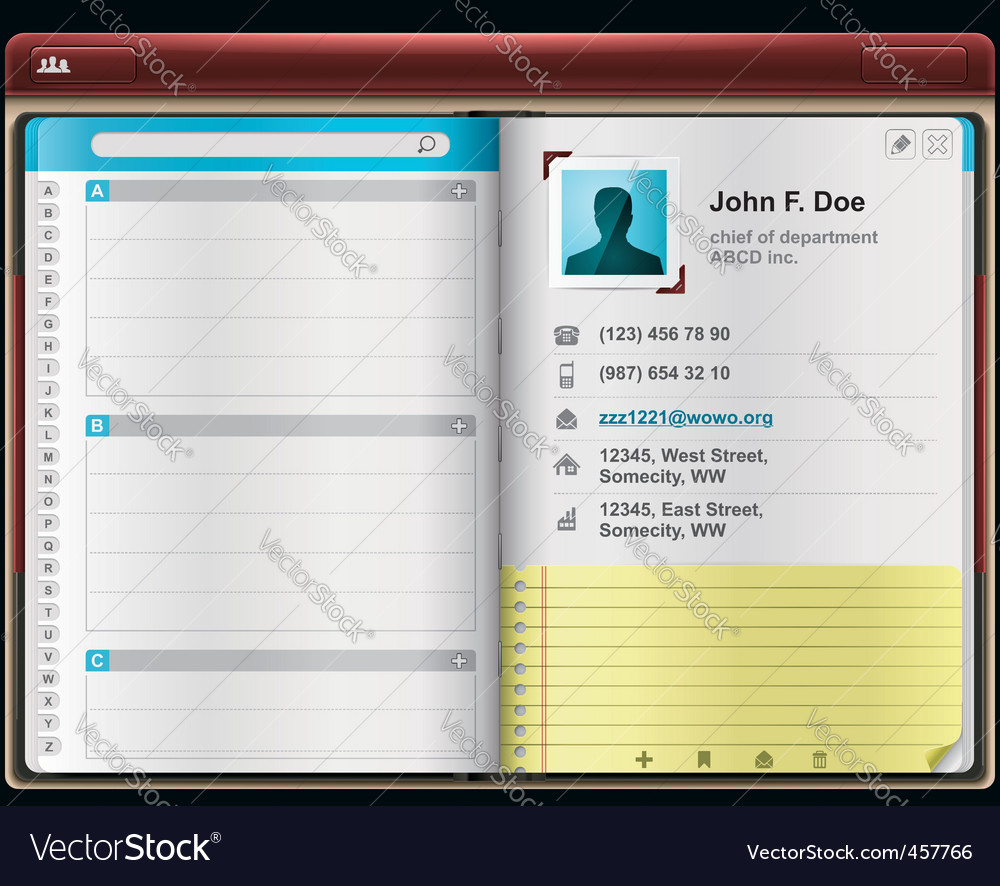 address book template vector