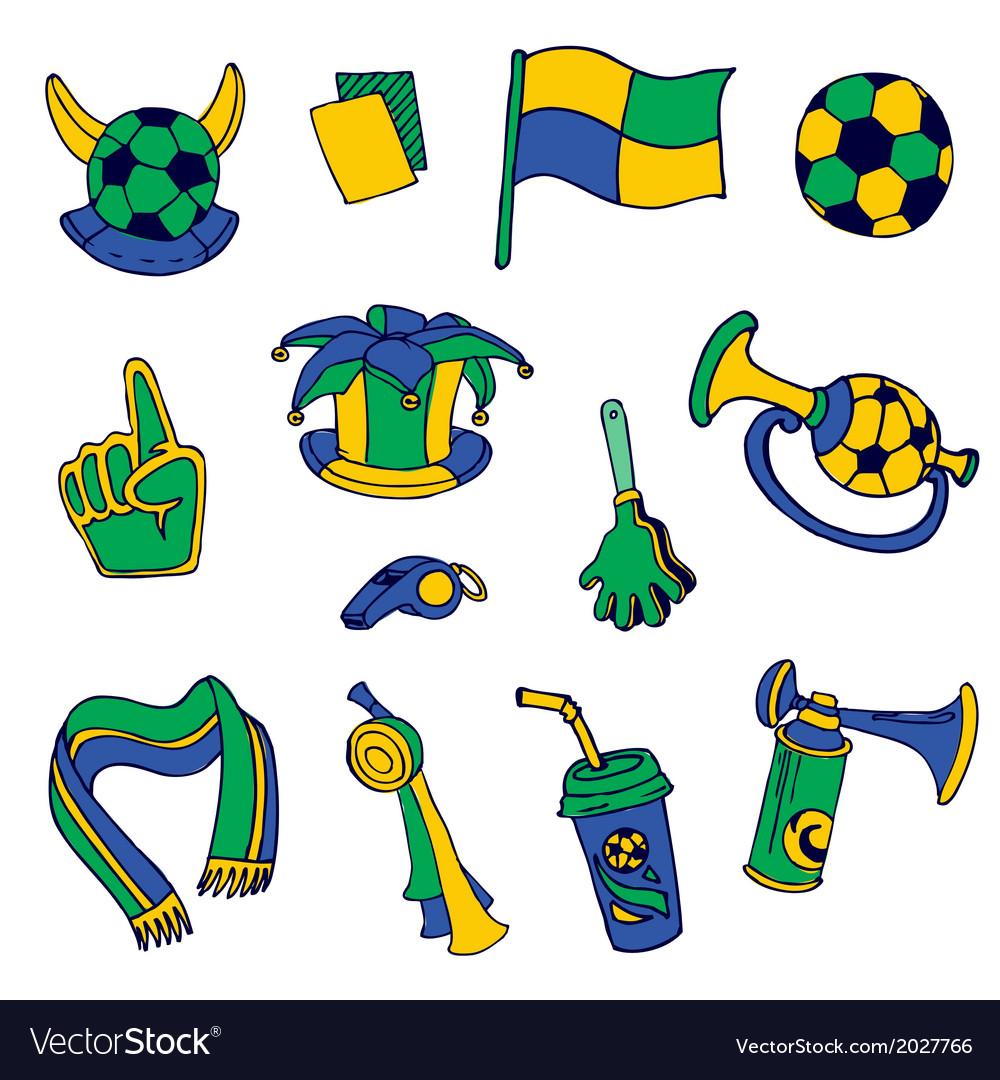 Fan elements soccer footall brazil - hand drawn vector