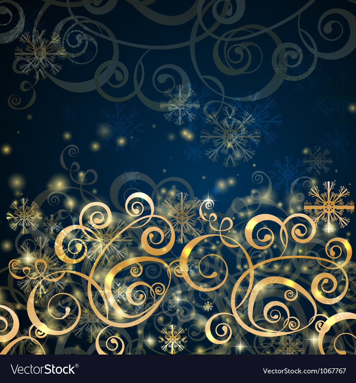 Elegant christmas dark blue with gold background vector