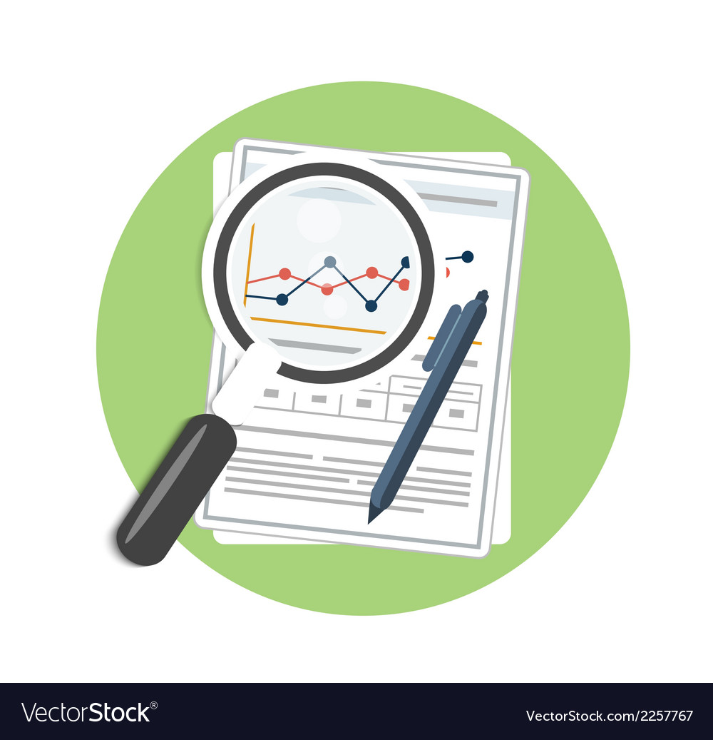 Magnifying glass pen and chart vector
