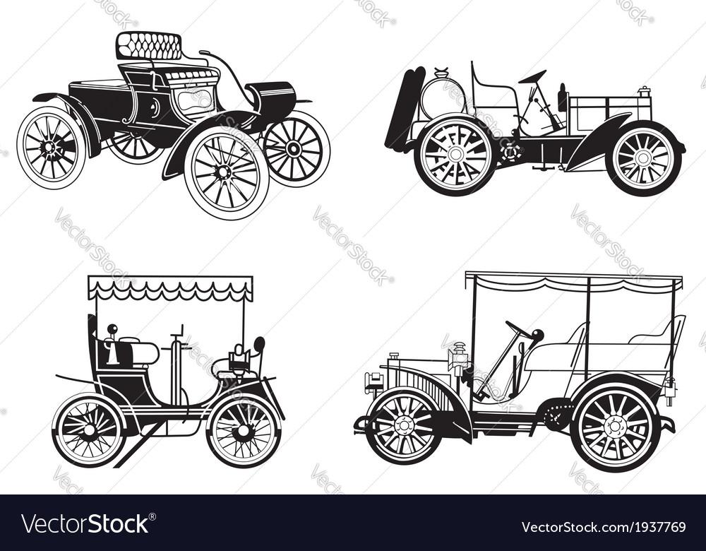 Set of the retro automobiles vector
