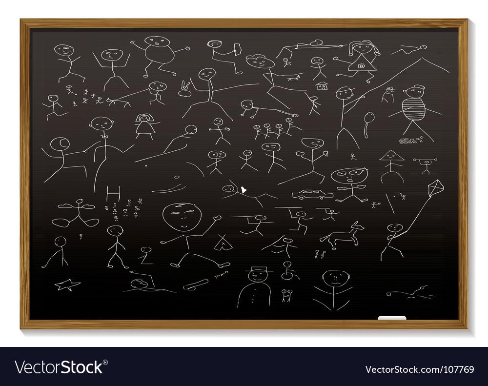 Stick man blackboard vector