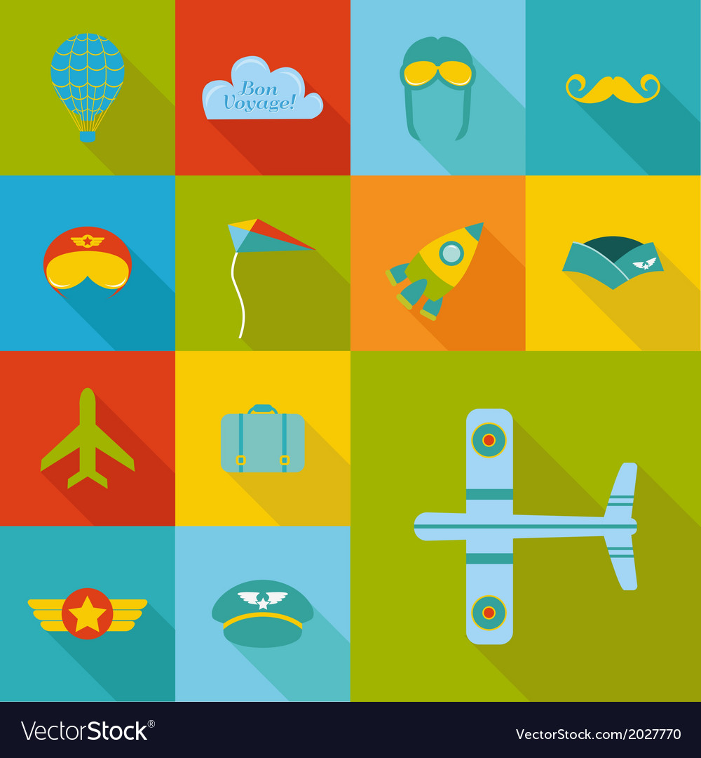 Airplane party set - flat icons design vector