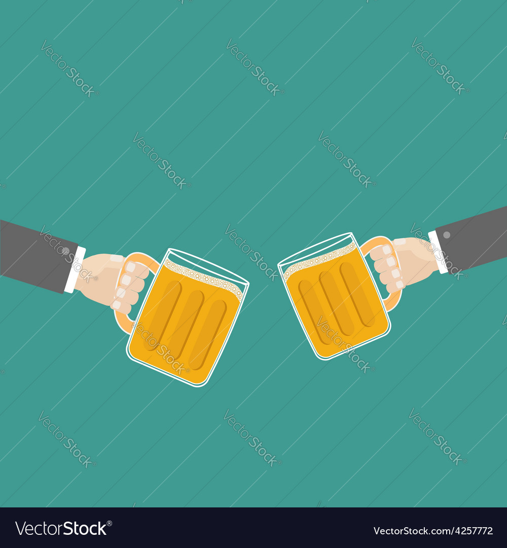 Two hands and clink beer glasses mug with foam cap vector