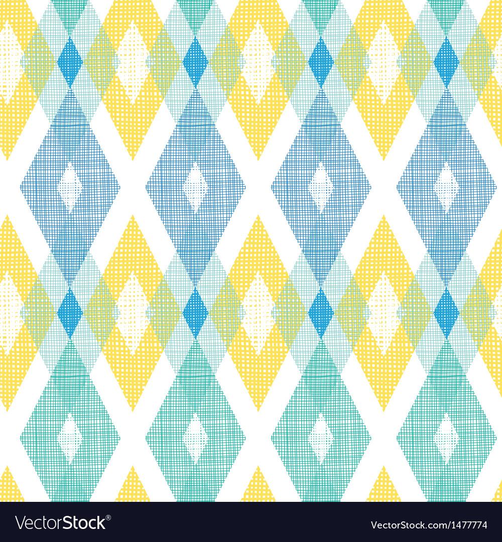 Colorful fabric ikat diamond seamless pattern vector
