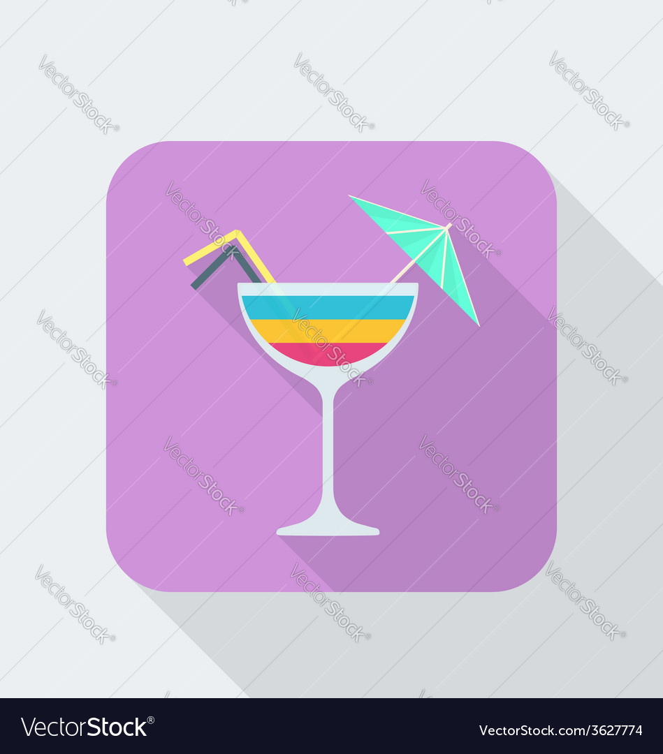 Flat style cocktail icon with shadow vector