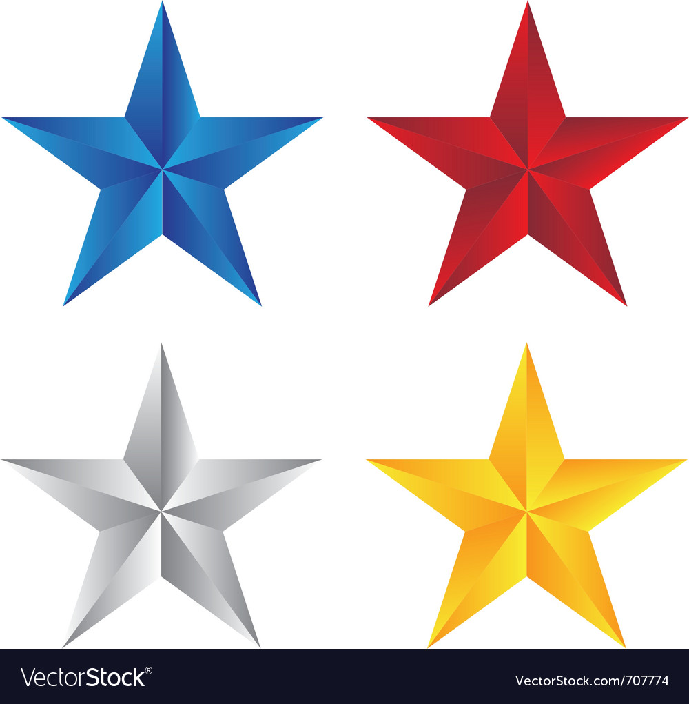 Stars with different color vector