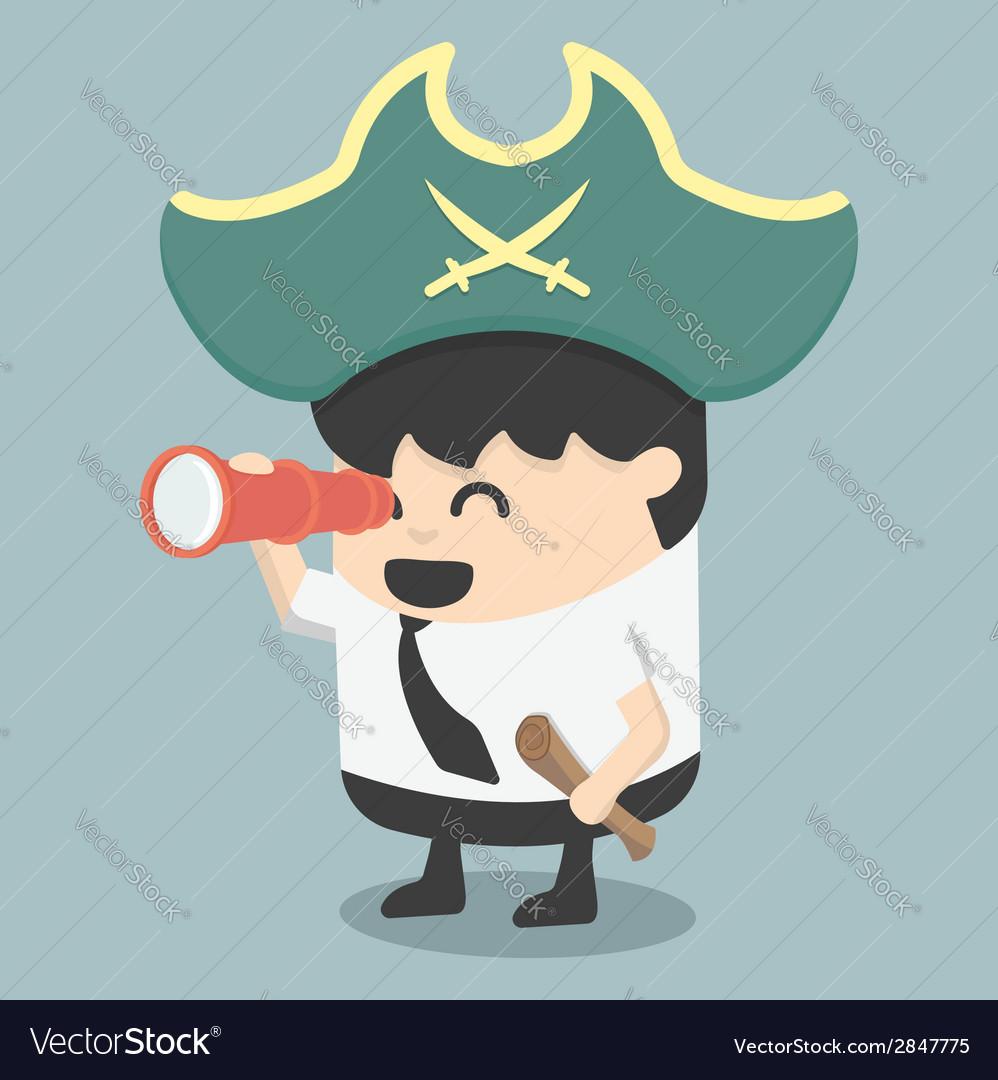 Businessman pirates the hunt vector