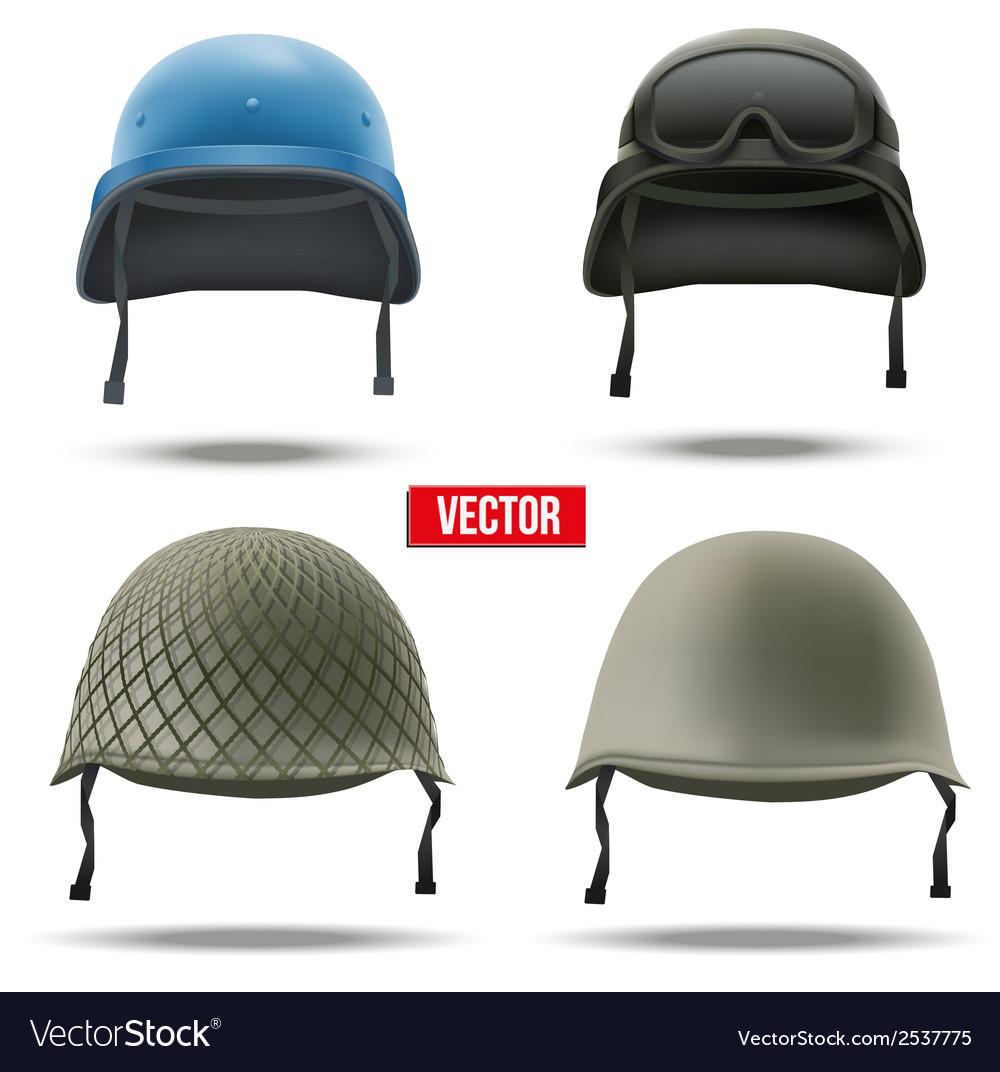 Set of military helmets vector