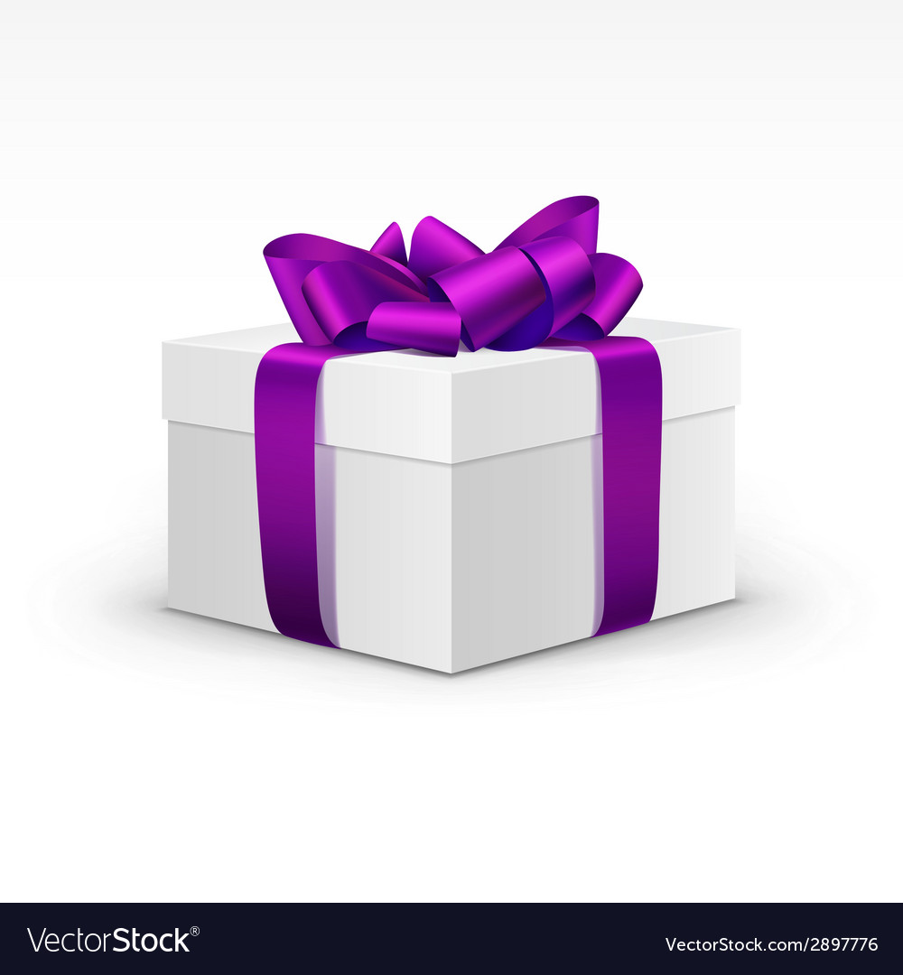 White gift box with purple violet ribbon isolated vector