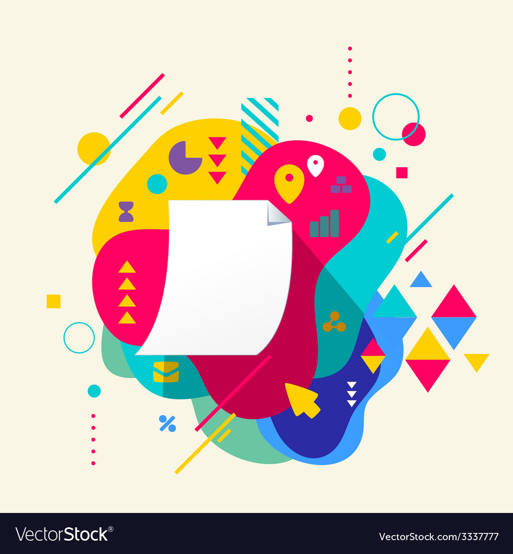 Paper document on abstract colorful spotted vector
