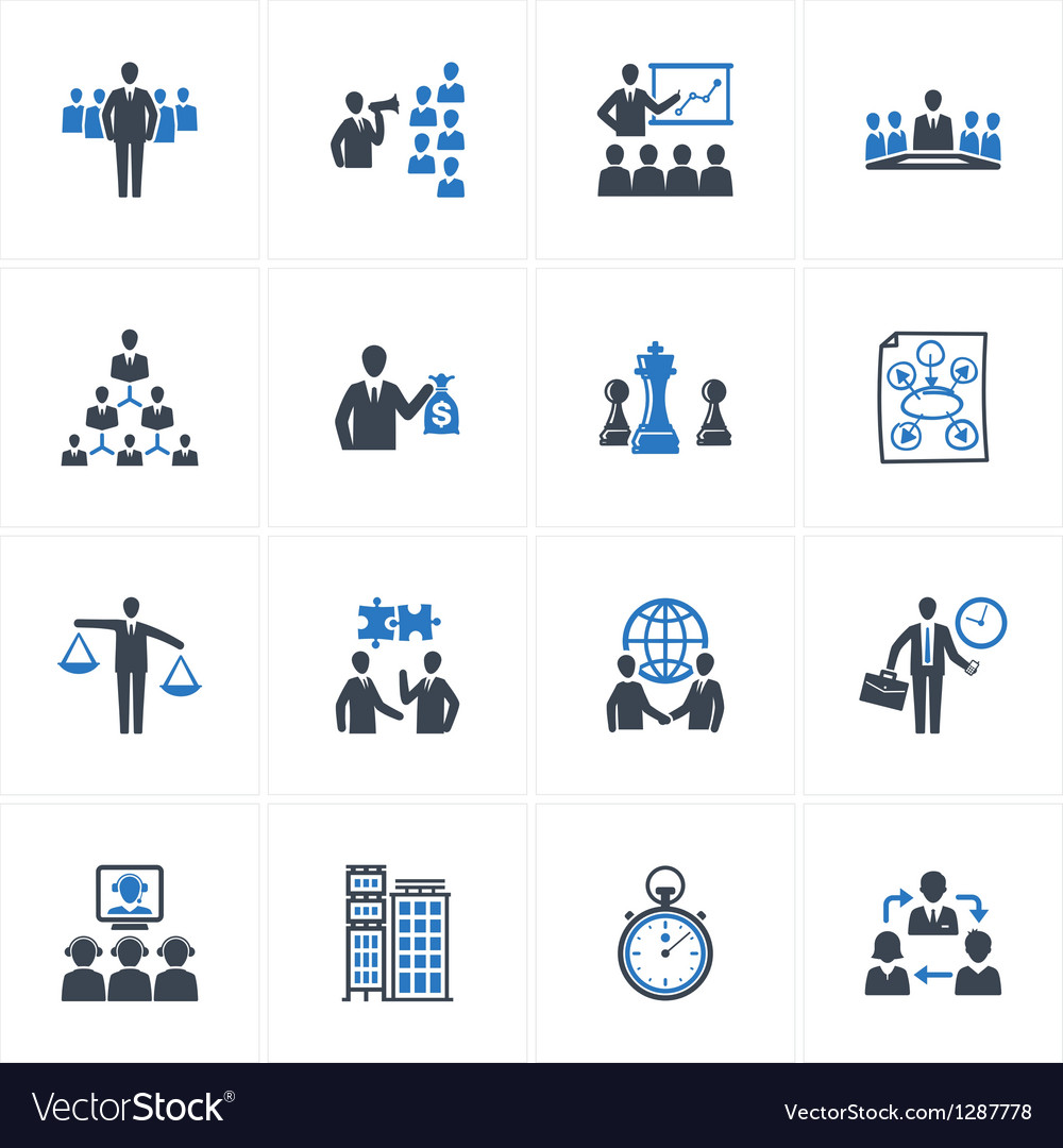 Management and business icons - blue series vector
