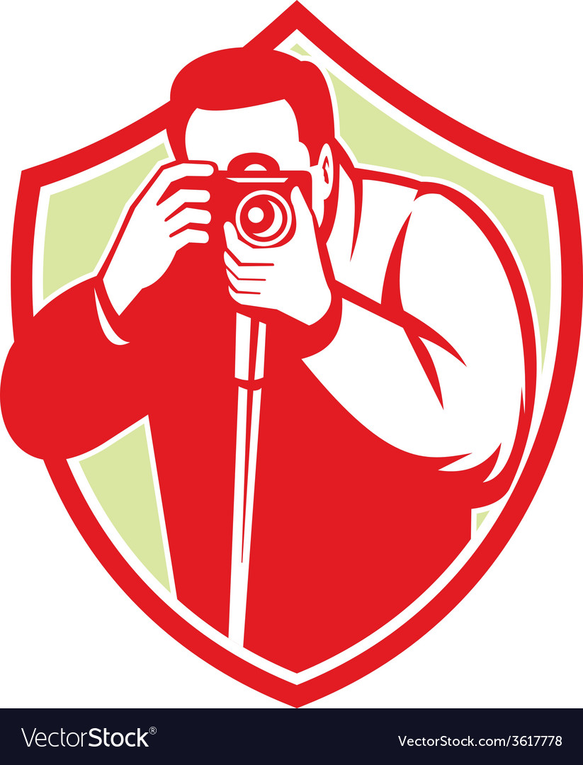 Photographer shooting dslr camera retro vector
