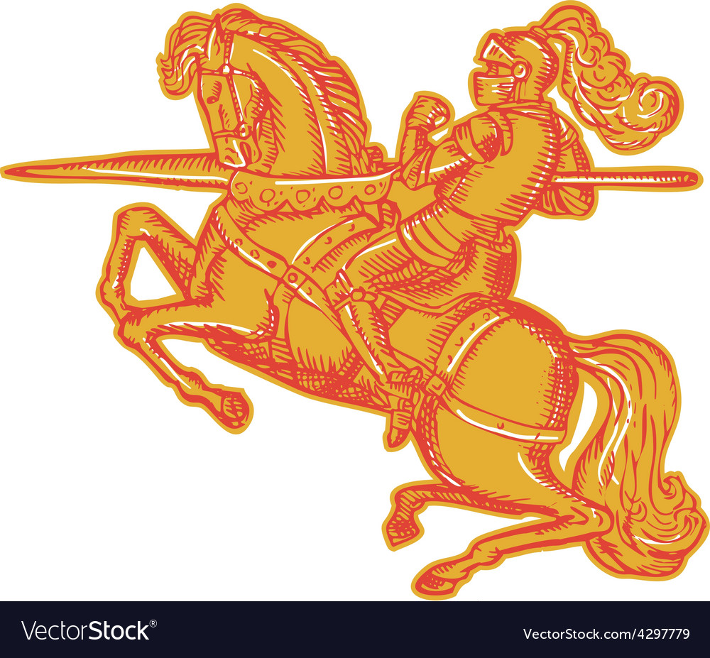 Knight full armor horseback lance etching vector