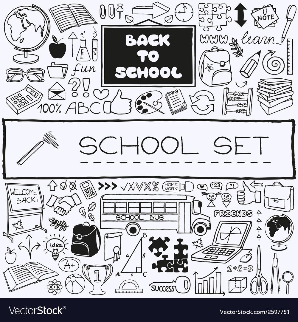 Hand drawn school icons set vector