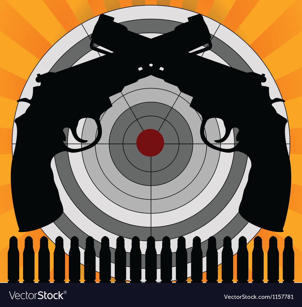 Target and pistols vector