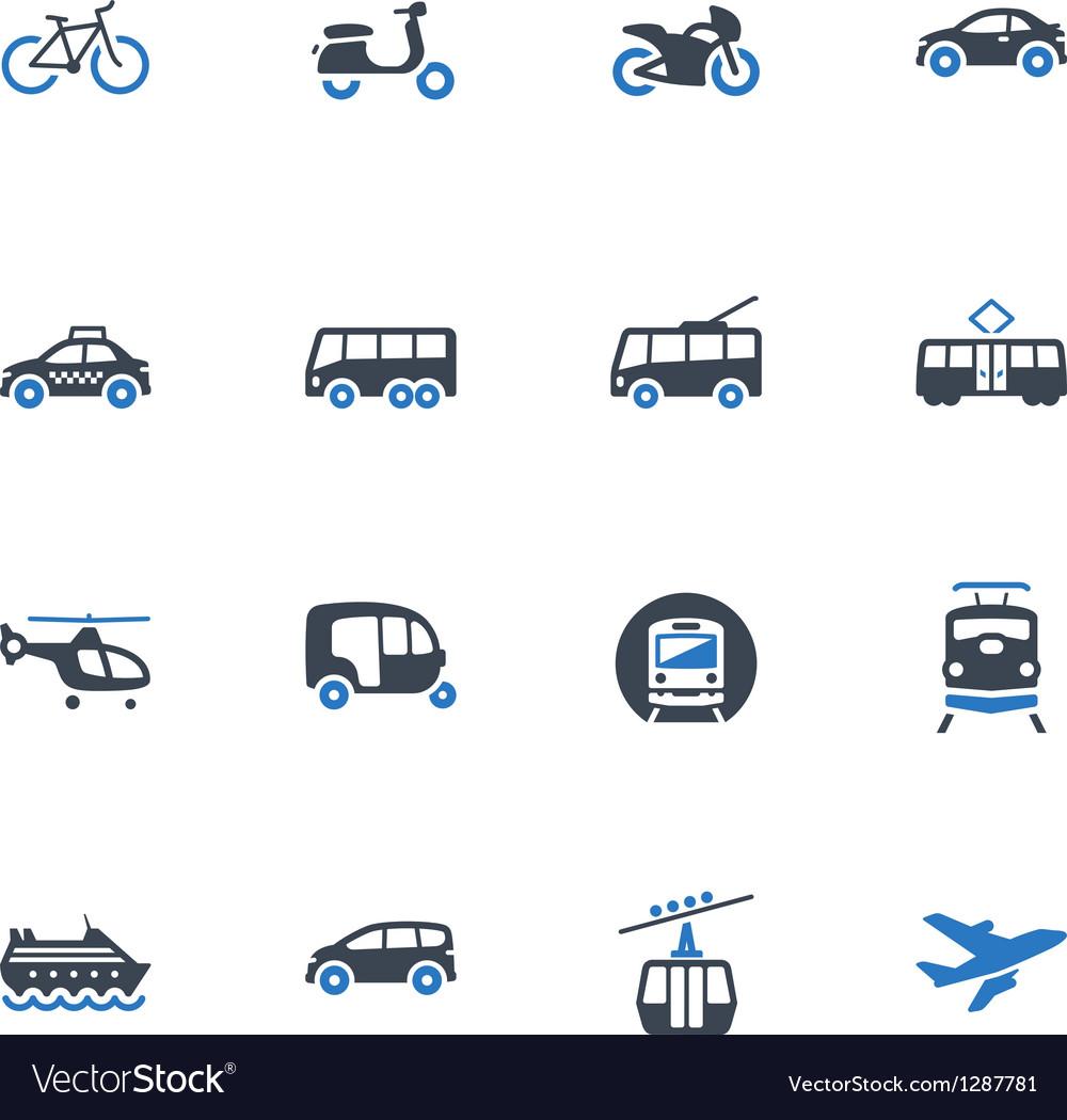 Transportation icons - blue series vector