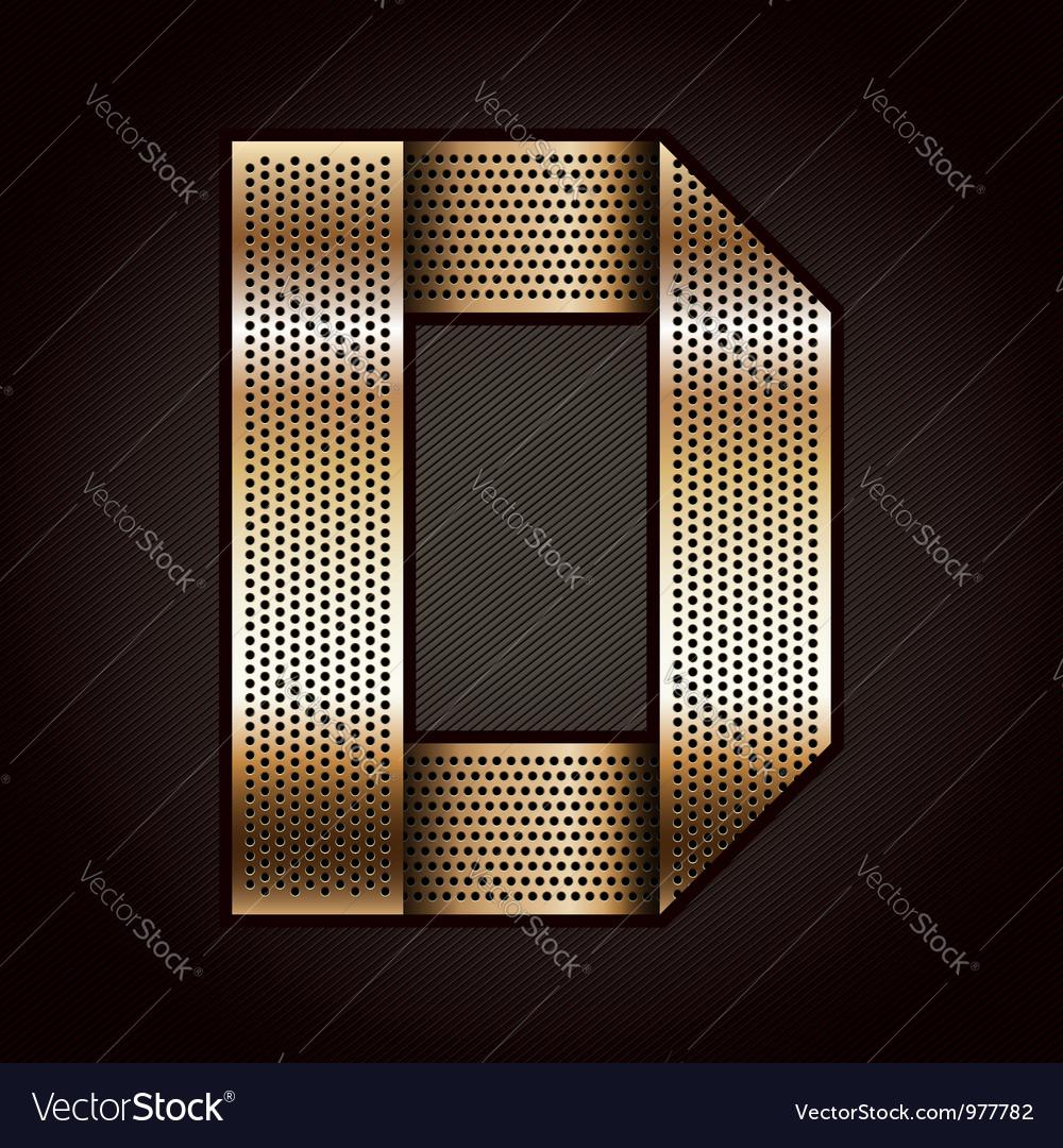 Letter metal gold ribbon - d vector