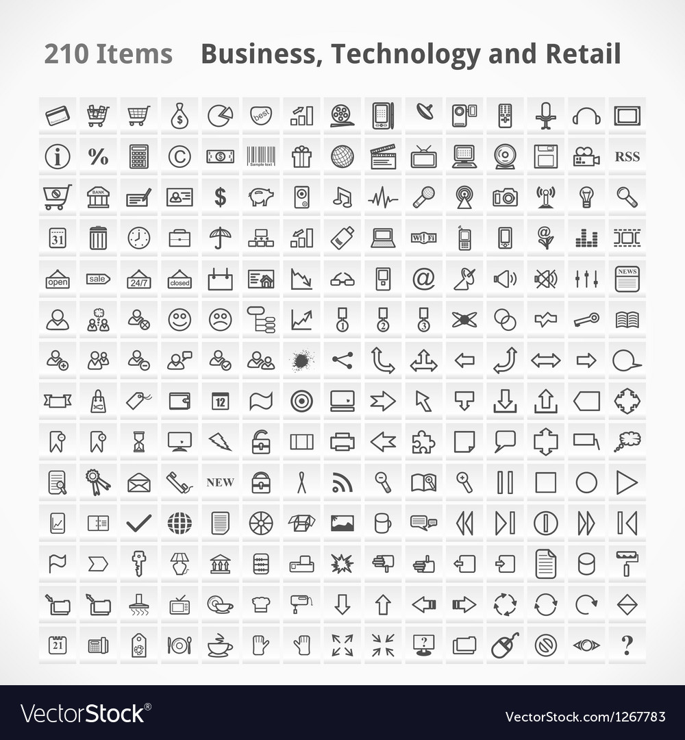 Business technology and retail items vector