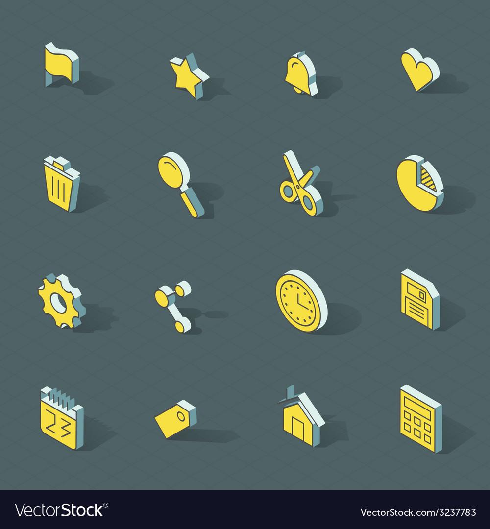 Isometric flat design icon set vector