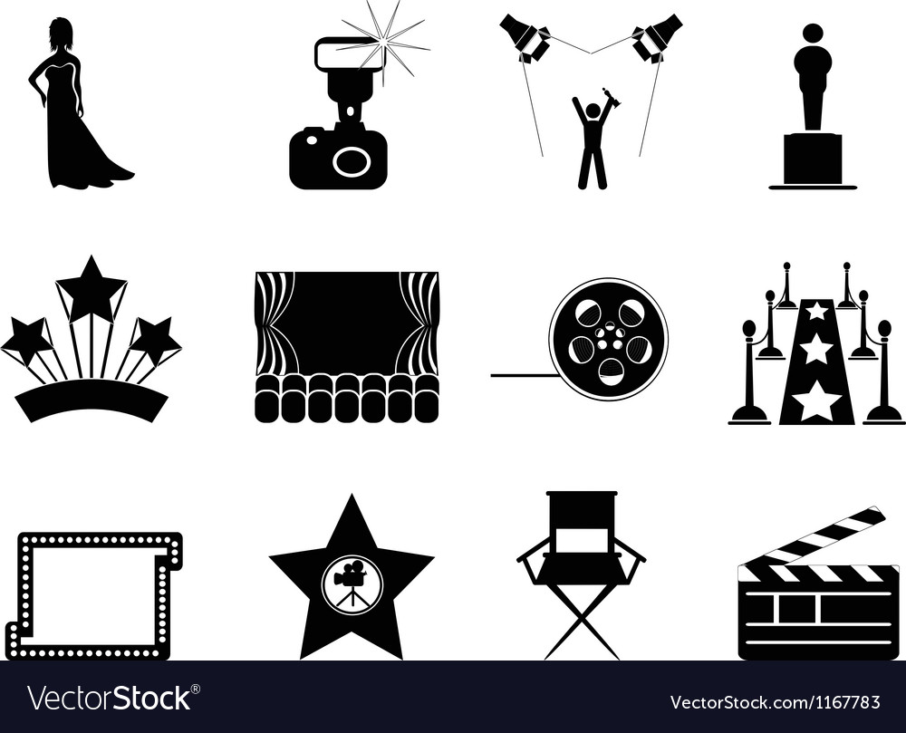 Movie and oscar symbol icons vector