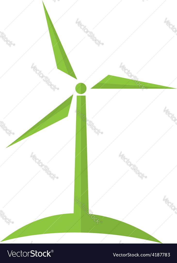 Wind turbine alternative energy ecology concept vector