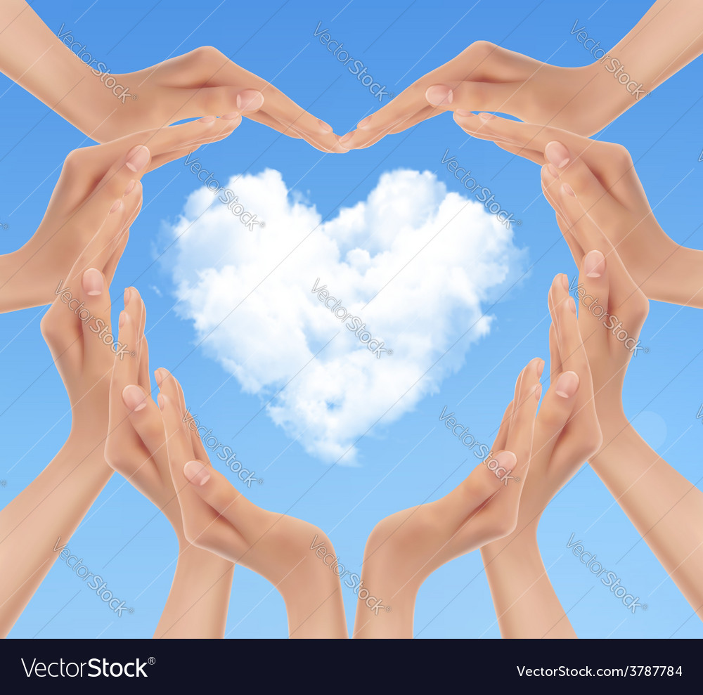 Holiday background with hands making a heart vector