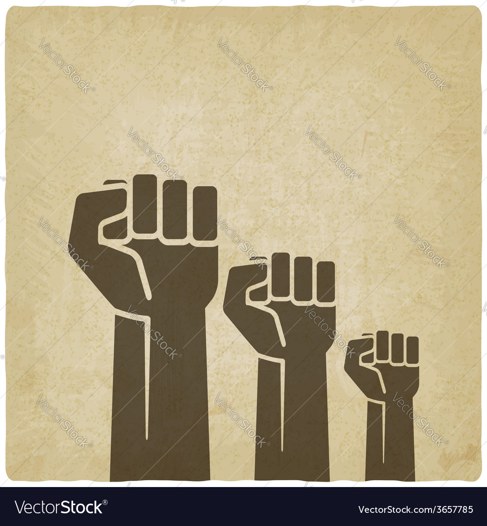 Fist independence symbol old background vector
