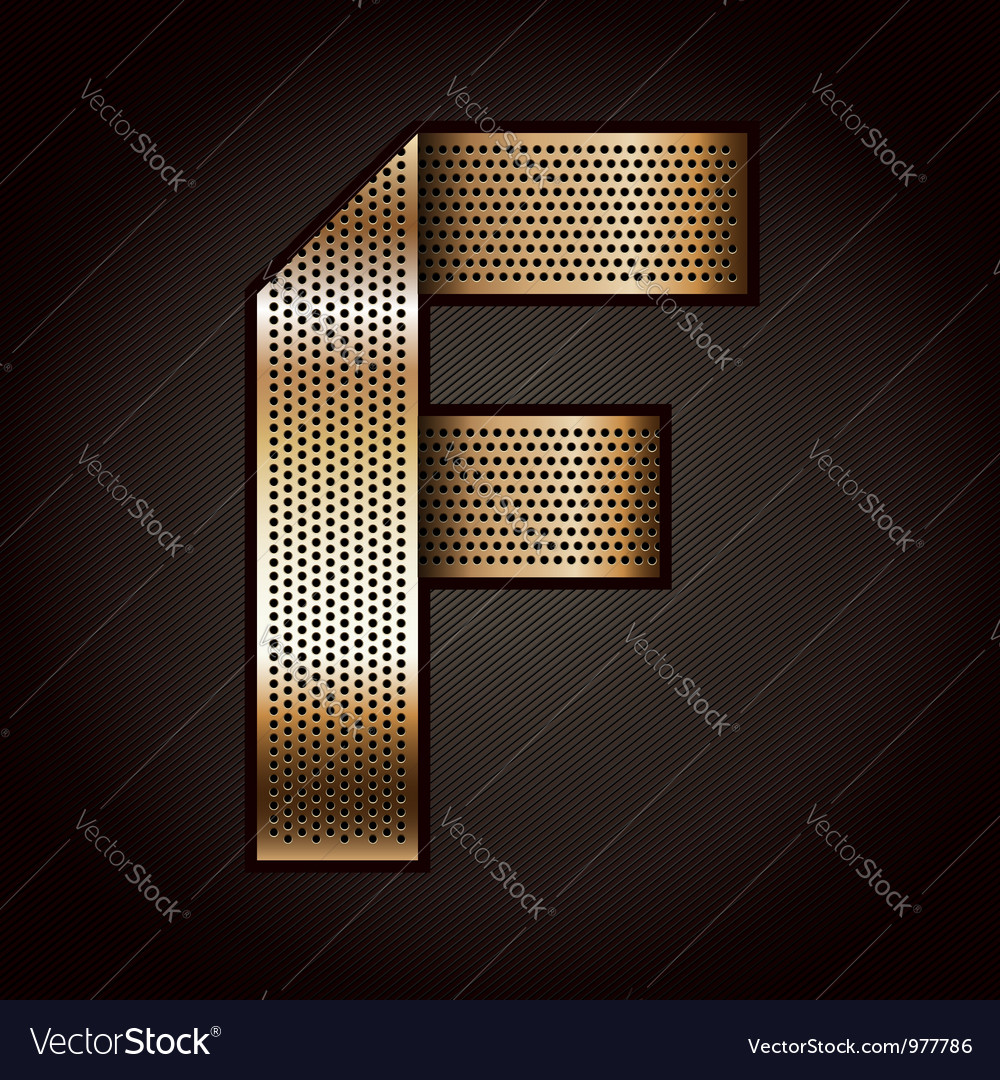 Letter metal gold ribbon - f vector