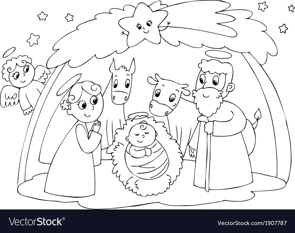 Mary joseph and jesus vector