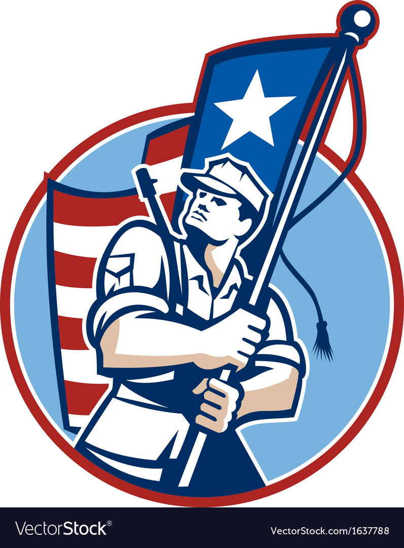 American patriot serviceman soldier flag retro vector