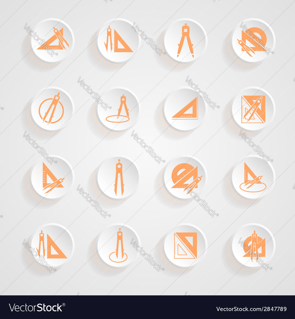 Button shadows measurement instrument set vector