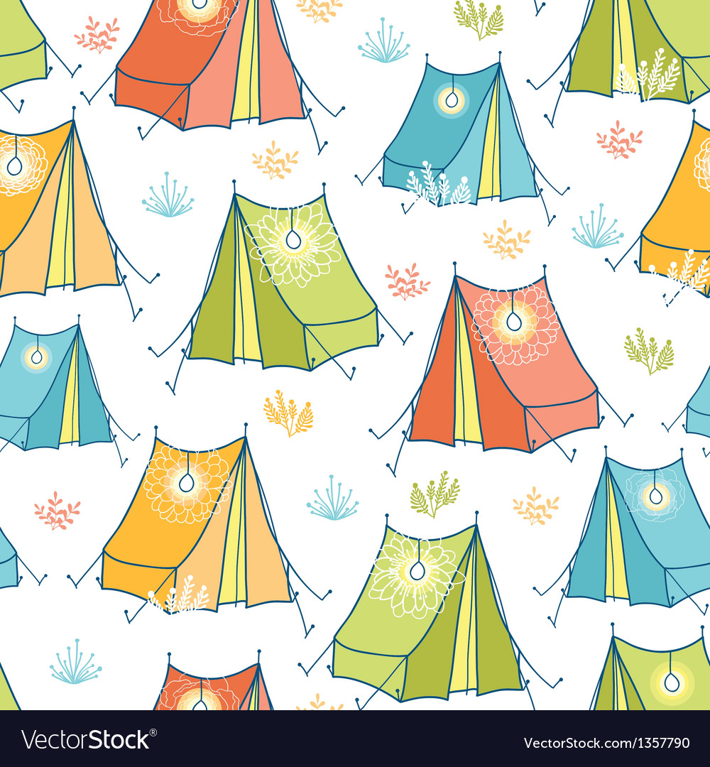 Camp tents seamless pattern background vector