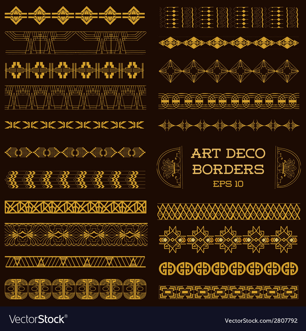 Art deco vintage borders and design elements vector