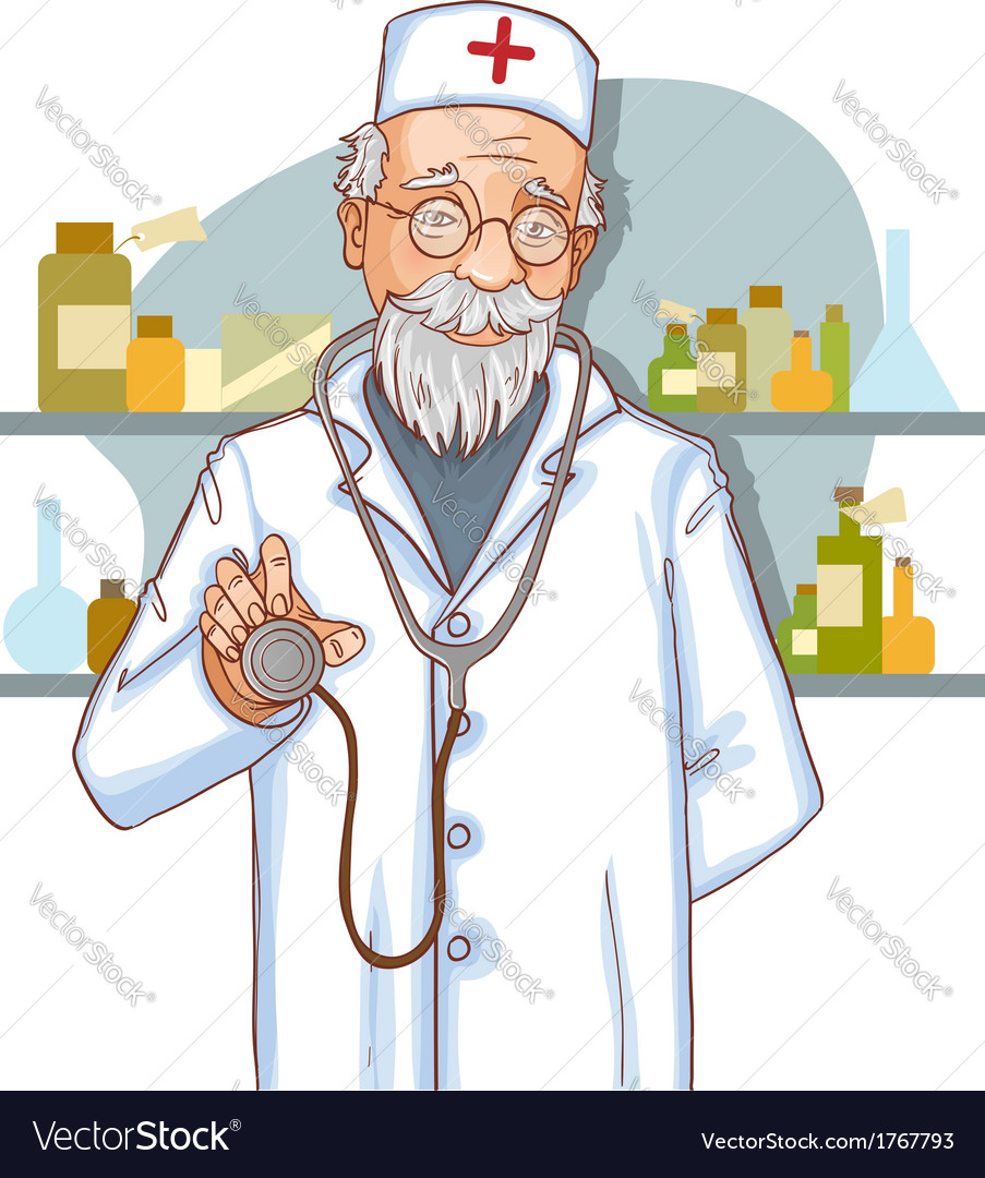 Old doctor with stethoscope eps10 vector