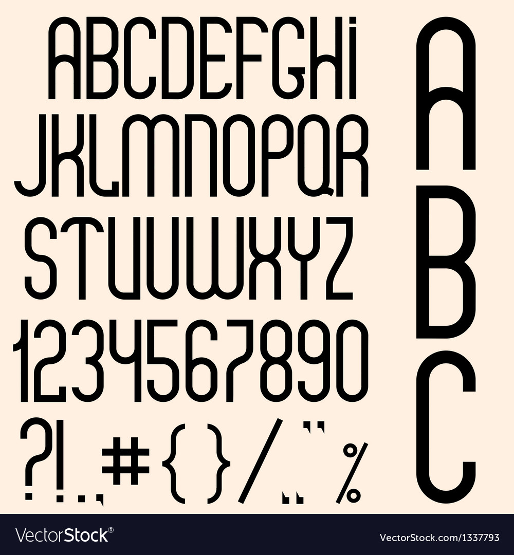 Slim black font numbers and punctuation marks vector