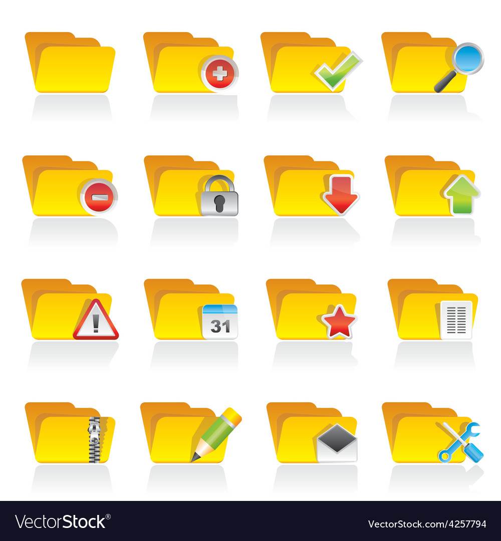 Different kind of folder icons vector